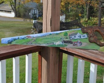 Custom Hand Painted Saw, painted saw blade, Family Farm on a saw blade - sold