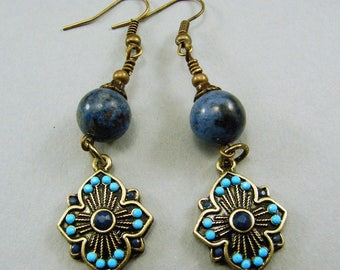 Antique Brass and Sunset Dumortierite Earrings