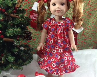 14.5  inch fits dolls such as Wellie Wishers doll- Red Mumu Dress-Stocking Stuffer