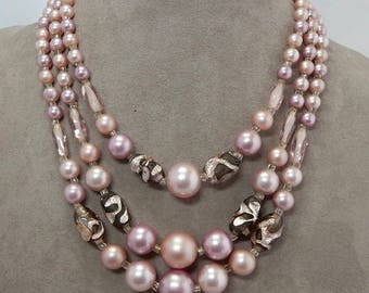 3 Strand Mauve & Foiled Bead Choker Necklace    OCJ32