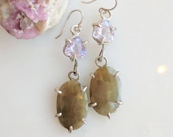 Amethyst Sapphire & Silver Earrings - sapphire dangle earrings - fancy earrings - silver claw earrings - amethyst earrings - boho earrings