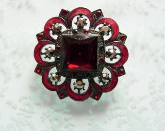 Victorian Revival Antique Style Vintage Red Enamel Brooch with Rhinestones