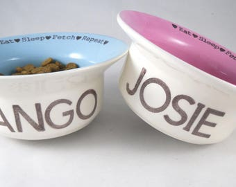 his and hers set of 2 CUSTOM DOG BOWLS handmade heavy duty ceramic earthenware dog dish 14 color options gold or silver rim personalize name