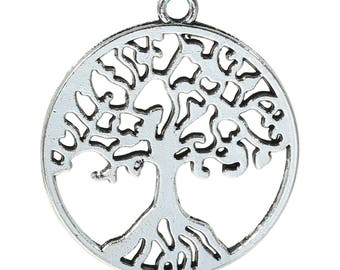 """6 pcs. LARGE - Antique Silver Tone Tree of Life Charms Pendants - 29mm X 25mm (1 1/8"""" x 1"""") - Double Sided"""