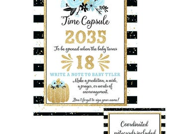 Little Pumpkin Time Capsule for Baby Shower in Blue, Black and Gold- Advice for the Baby- Write a note to Baby when Turning 18