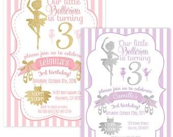 Ballerina Birthday Invitation in Pink and Gold, Purple and Silver, Ballet Birthday Invitation, Ballerina Party, Ballet Party, Ballerina