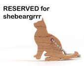 RESERVED for shebeargrrr: Burmese Cat Key Chain, Wood Scroll Saw Silhouette Kitty Key Ring,  Maple