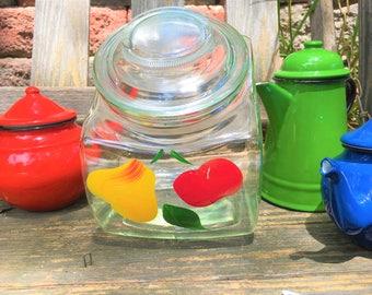 Vintage Tilt Canister Glass Jar Large Bartlett Collins Gay Fad Fruit