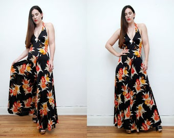 FREE SHIPPING Floral Tropical Halter Neck Pant Palazzo High Waist Wide Leg Romper Jumpsuit 70's