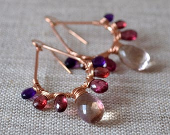Bold Gemstone Earrings, Rose Gold, Ametrine, Plum Rhodolite, Red Garnet, Purple Amethyst, AAA Stones, Wire Wrapped Jewelry, Free Shipping