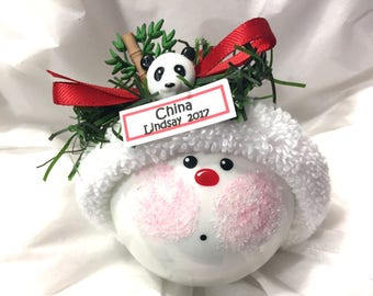 CHINA Souvenir Christmas Ornaments Panda Bamboo Hand Painted Handmade Personalized Themed by Townsend Custom Gifts (F) (BR)