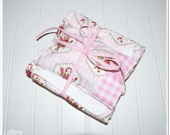 """18"""" Doll Bed SETS! *Special Price* - Pink gingham and floral, white flannel back, separate pillow in ticking stripe, gift, nelle*s"""