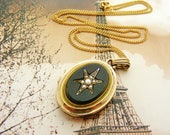 SOLD on layaway for MEG. Third instalment French antique locket with onyx and seed pearls