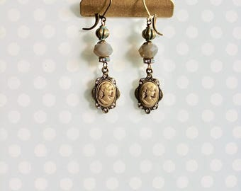 40% OFF SALE Vintage replica cameo dangle earrings, patina green and grey beads, tiny rhinestone accents, A Truth Universally Acknowledged