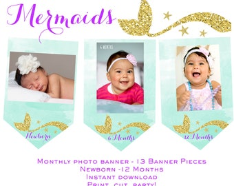 Mermaid Monthly Photo Banner Mermaid photo banner Mermaid first birthday party Watercolor Mermaid instant download Mermaid birthday party