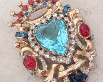 Coro Craft Brooch Heart Crown Shield Rhinestone Sterling Vermeil Vintage 052516BT