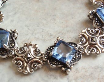 Princess Cut Bracelet Synthetic Blue Spinel Sterling Silver Marcasite Vintage 130522