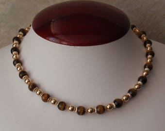 Tiger Eye Necklace Choker Ballou B.A.B. 12K Gold Filled Findings Vintage V0784
