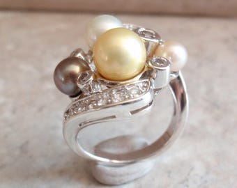 Pearl Ring Sterling Silver Espo Multi Color Pearls Size 7-1/2 Vintage CW0017
