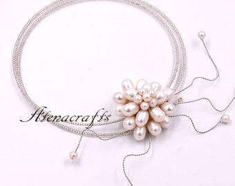 Custom-made Wedding Bridal Real Pearl Necklace Choker