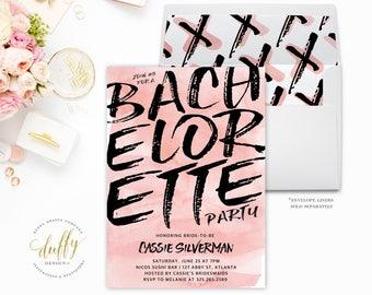 Bachelorette Party Invitations, Bachelorette Invitations, Bachelorette Party, Girls Weekend, Hens Party, Blush, Pink, Black, Watercolor, 5x7