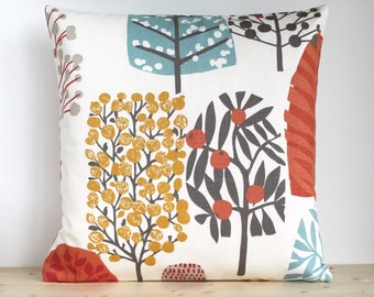 16x16, 18x18, 20x20, Folk Pillow Cover, Scandinavian Pillowcase, Modern Cushion Cover, Throw Pillow Sham, Pillow Slip - Lollipop Trees Spice