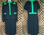 Vintage 1960s 1970s Womens Two Piece Dress and Jacket Set Knit Navy and Green Mod Mad Men Style Classic Jackie O Style Large XL