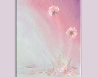 ORIGINAL Oil Painting Dandelion Wishes Come True Brush Soft Pink Colors Foggy Soft Grey Purple Handmade Art by Marchella