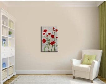 70% off ORIGINAL Oil Painting Red poppies Palette Knife impasto painting Colorful Flowers painting Modern painting wall art decor gift ART M