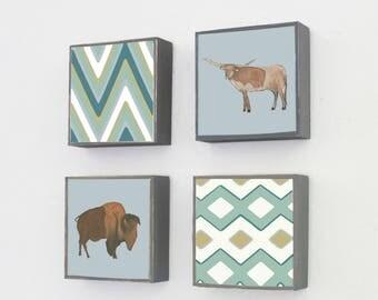 southwestern nursery decor - boho art for nursery - 4 set-5x5 art blocks- gender neutral baby- buffalo longhorn art-baby animals art