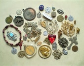 35 Vintage Medal and Jewelry Pieces - Brass Bronze Copper Silver Metal - Salvaged Supplies for Assemblage, Jewelry, or Altered Art