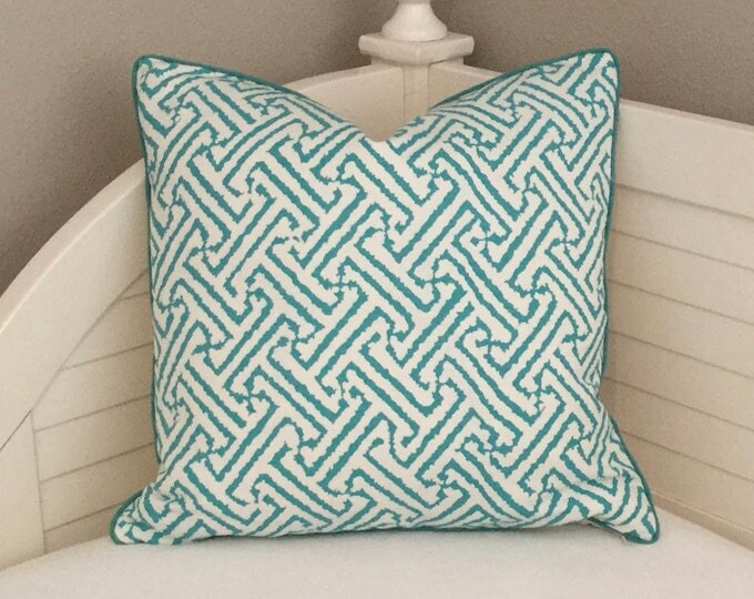 Quadrille China Seas Java Grande Turquoise on White Designer Pillow Cover  with Tiny Piping- Square, Euro and Lumbar Sizes