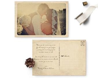 "Rustic Vintage Wedding Thank You Card, 4x6, Wedding Thank You Card, the ""Narissa"""