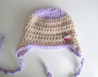 Baby hat, crochet hat with ear flaps and ties, cupcake button, choose size