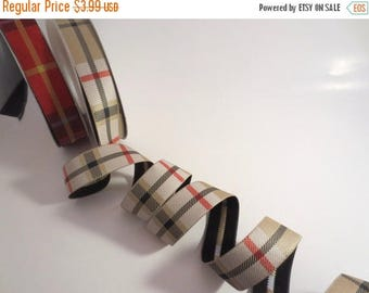 ON SALE Beige with Red Tartan Plaid Polyester Jacquard Ribbon--By the Yard