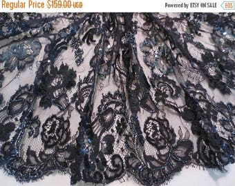 ON SALE Black with Gunmetal Beaded French Chantilly Lace Fabric--One Yard