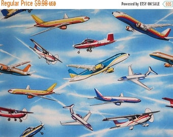 ON SALE All Kinds of Airplanes on Blue Sky Print Pure Cotton Fabric--By the Yard