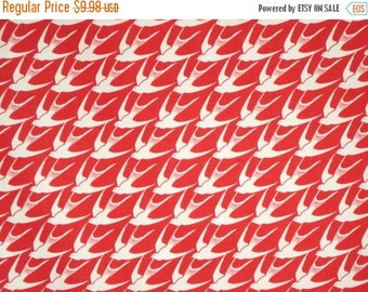 ON SALE Bright Red and Natural Retro Birds Print Pure Cotton Fabric--By the Yard