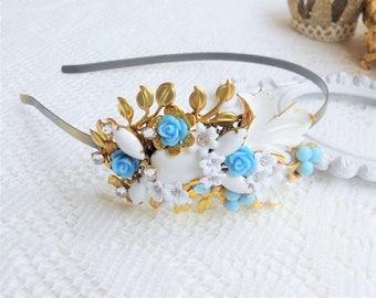 SALE, 50% OFF, Bridal Headpiece, Bridal Headband, Wedding, Floral Assemblage, Collage Headband, White Floral Head Piece, Gold Leaf Headband