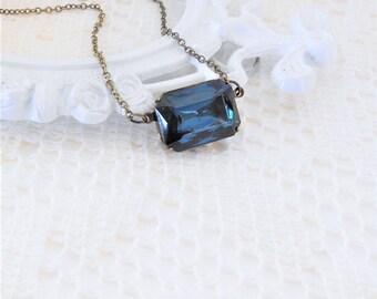 Montana Necklace, Art Deco Necklace, Blue Choker, Navy Blue Necklace, Old Hollywood, Vintage Crystal Rhinestone Necklace, Estate Jewelry