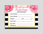 Floral Predictions for Baby Cards, Black & White Stripe Peony Shower Game, Guess Baby Weight, Baby Stats, DIY Printable, INSTANT DOWNLOAD
