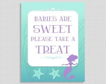 Babies Are Sweet Please Take a Treat Sign, Mermaid Aqua & Purple Shower Sign, Baby Girl Favor Sign, 2 Sizes, DIY Printable, INSTANT DOWNLOAD