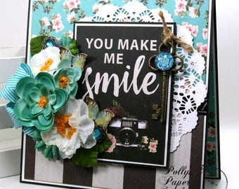 You Make Me Smile All Occasion Greeting Card Polly's Paper Studio Handmade