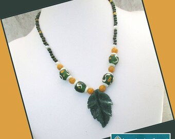 Green Gold Jasper Leaf Pendant Necklace, African Glass Bead Jewelry, Yellow Jade Necklace, Gemstone Jewelry, Green Necklace, Leaf Jewelry