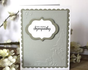 Handmade Sympathy Card, Pet Loss, Dog, Gray and White, With Deepest Sympathy, Embossed, Blank Inside, Free US Shipping
