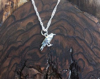 The Raven Sterling Silver Charm / Pendant Necklace  / Teenager gift / Sterling Silver / Teacher gift / co-worker gift / bridesmaid gift