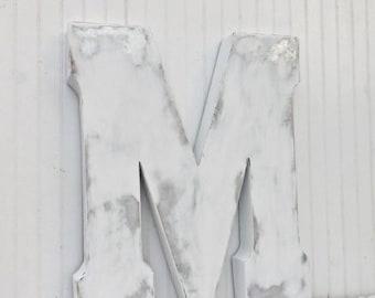 ON SALE MEGA Sale Large Metal Letter / Decorative Letter / Capital Letter / Large Letter M / Shabby Chic Letter / Rustic Letter