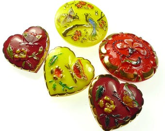 Red and yellow buttons glass