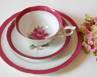 Tea Party Tea Cup, Saucer and Plate. Serving Tableware. Nagase China from Japan. Pattern #NGA2 Pink Roses. Vintage Replacement China.