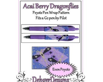 Bead Pattern Peyote(Pen Wrap/Cover)-Acai Berry Dragonflies